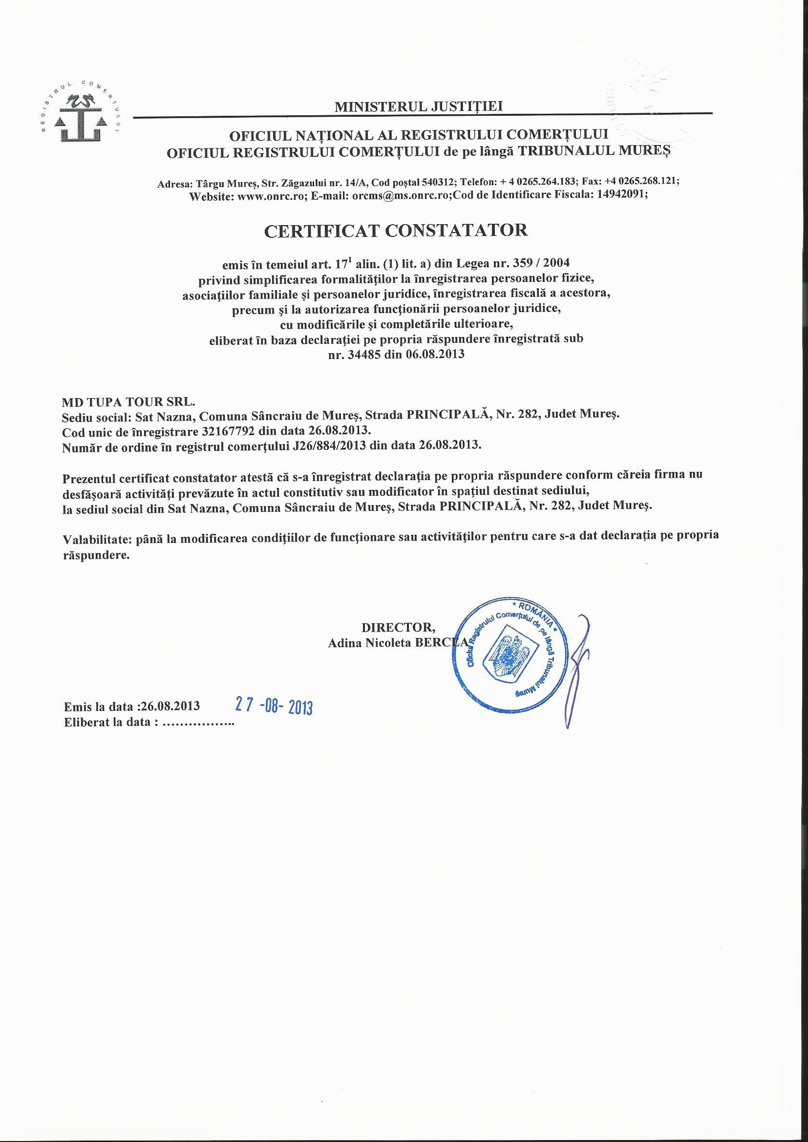 Certificat constatator