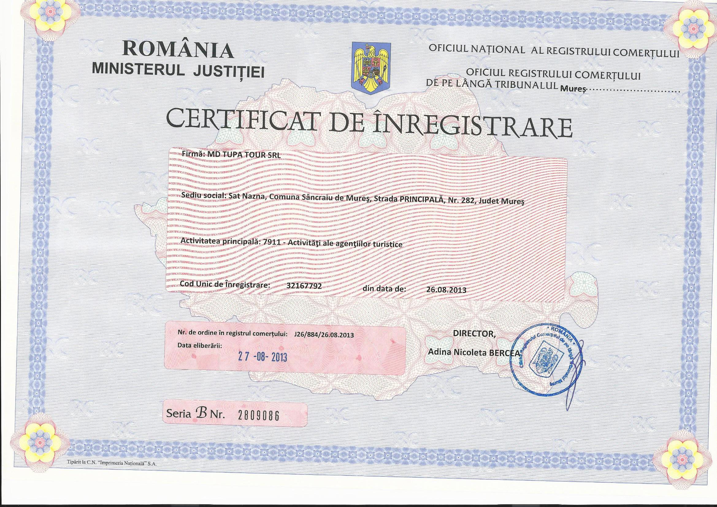 Certificat iregistrare